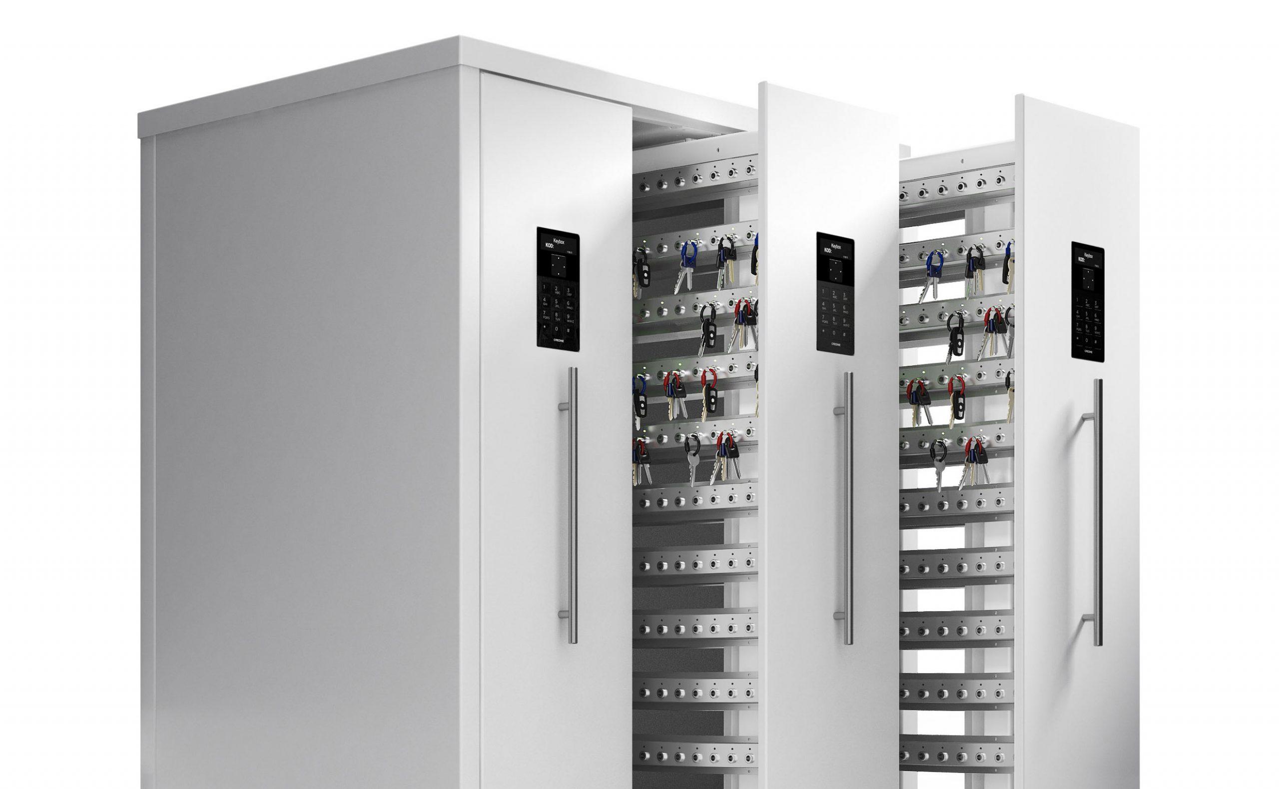 Der intelligente Schlüsselschrank 9600SC der Serie KeyBox mit offenen Türen wird für die Schlüsselverwaltung verwendet