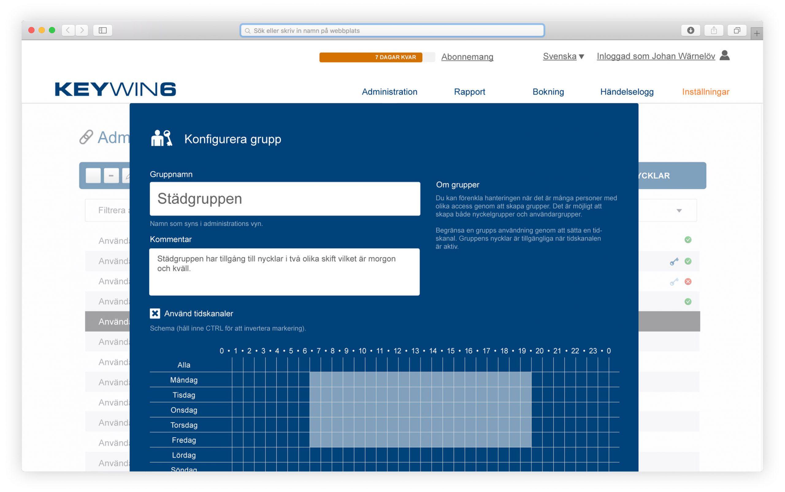 Benutzergruppe und Zeitfenster in der Schlüsselverwaltungssoftware KeyWin