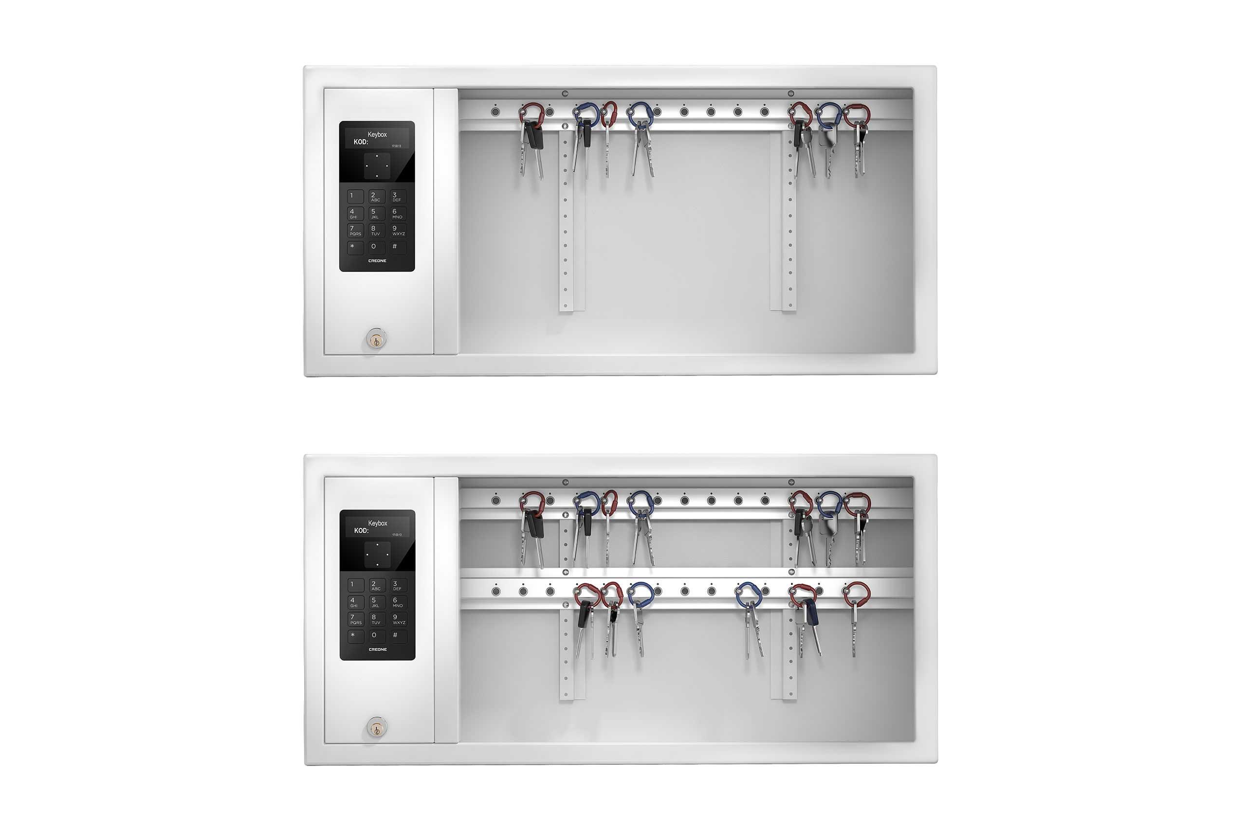 Zwei KeyBox-Schlüsselschränke des Modells 9400 SC mit zwei Schlüsselleisten für unterschiedliche Anforderungen an die Schlüsselaufbewahrung