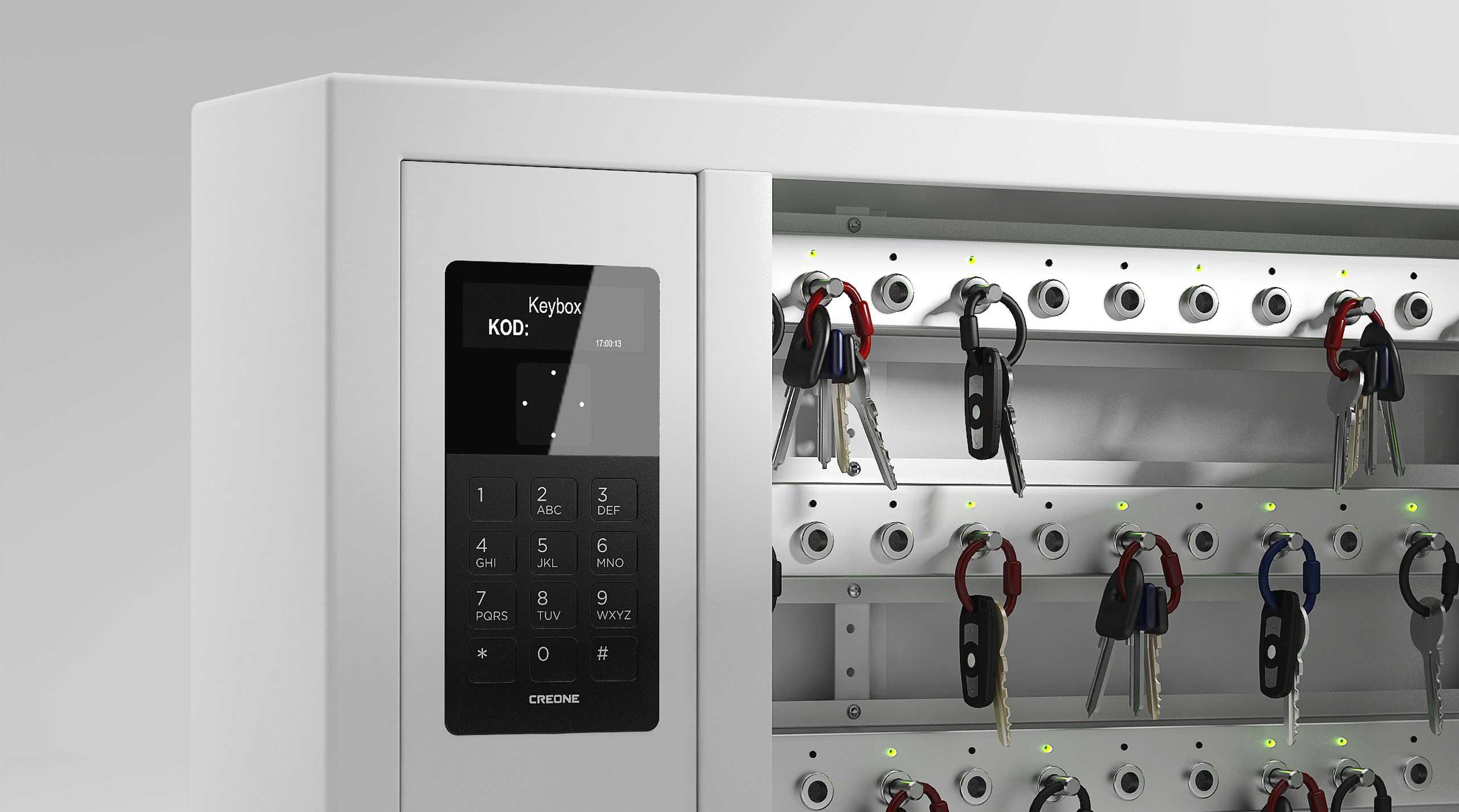 Nahaufnahme des Schlüsselschranks 9400 SC Display mit einfacher Menüführung