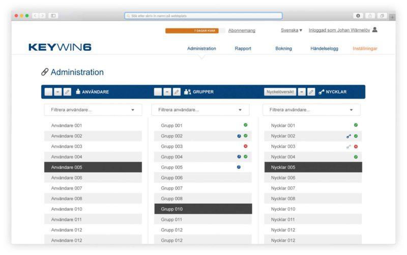 Verwaltungsansicht für Benutzer, Gruppen und Schlüsselverwaltung in der Schlüsselverwaltungssoftware KeyWin