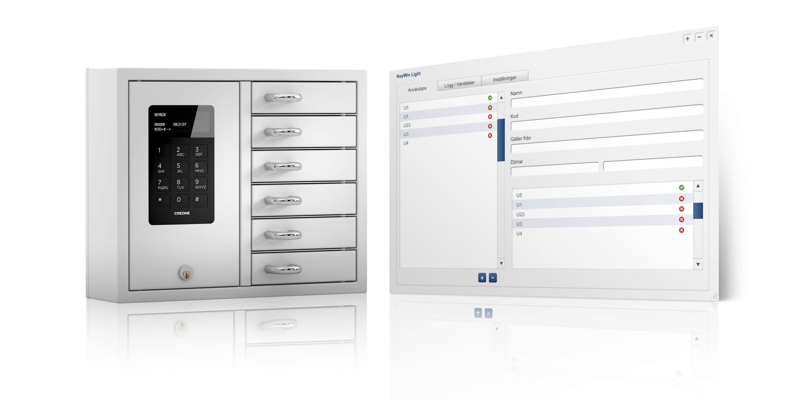 KeyBox Schlüsselschrank mit Programmansicht der Schlüsselverwaltungssoftware KeyWin Light