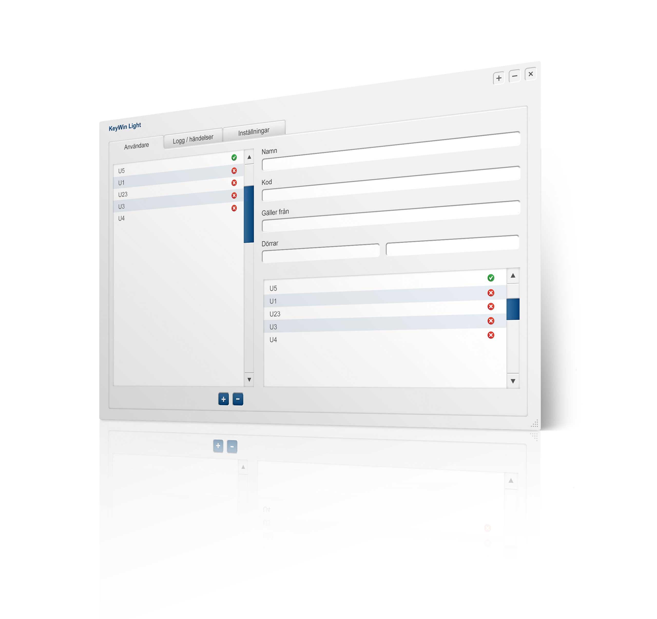 Programmansicht der Schlüsselverwaltungssoftware KeyWin Light