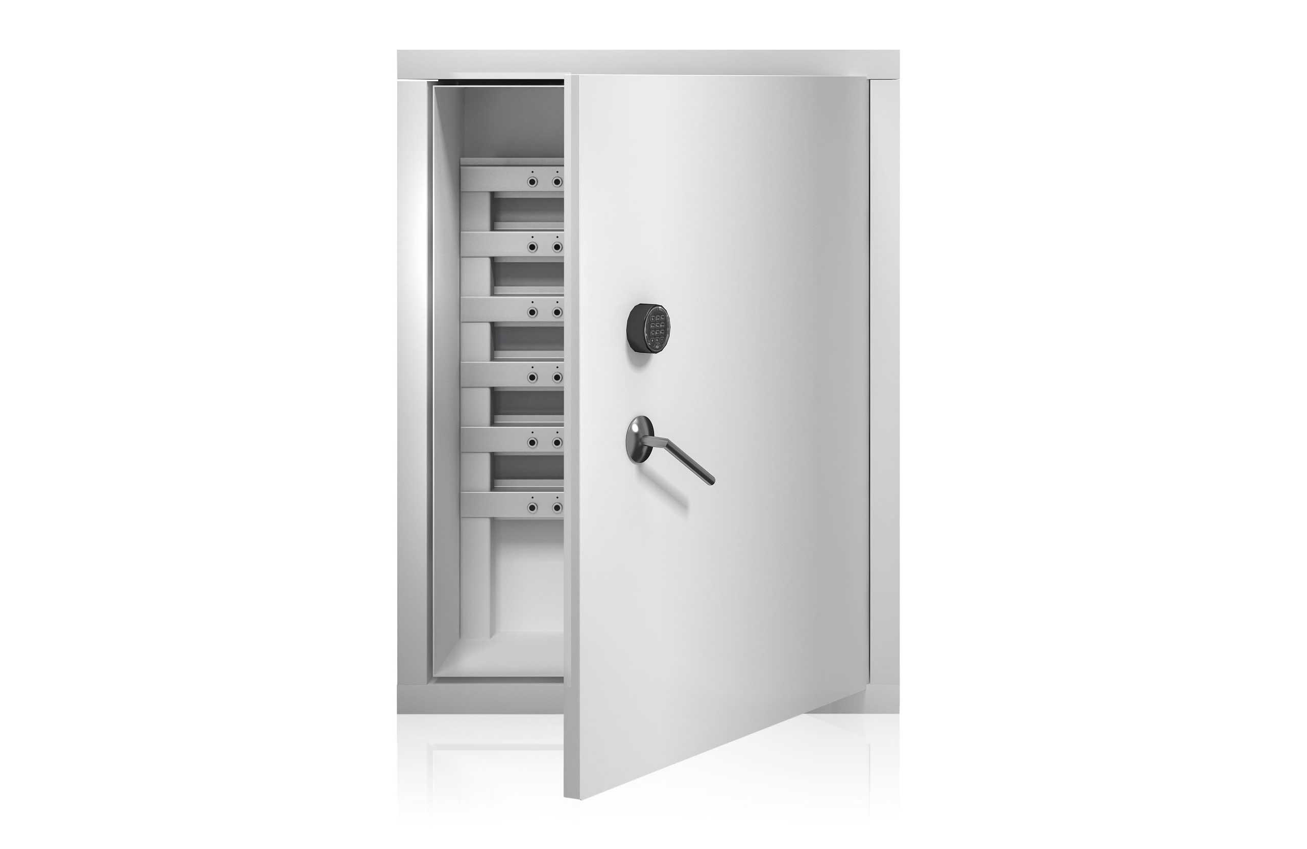 Intelligente Schlüsselleisten mit Steuereinheit, die für eine einzigartige Schlüsselverwaltung in Sicherheitsschränken montiert sind.