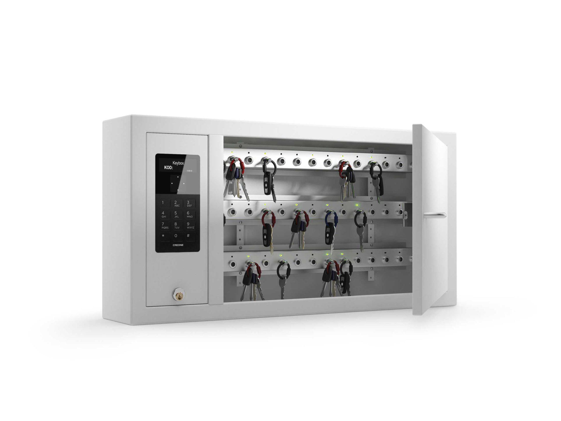 Schlüsselschrank 9400 SC der Keycontrol-Serie. Offener Schrank mit Schlüsselleisten, die die Schlüsselverwaltung organisieren.