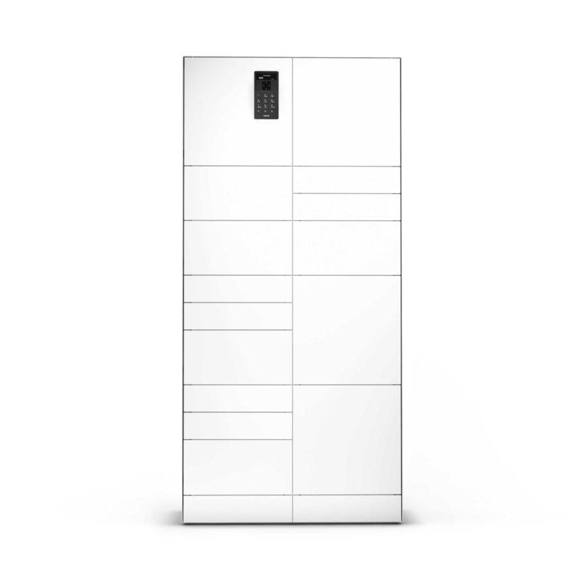 Wertschrank aus der Serie ValueBox Control mit drei verschiedenen Arten von Fächern zur Verwaltung von Gegenständen ausgelegt