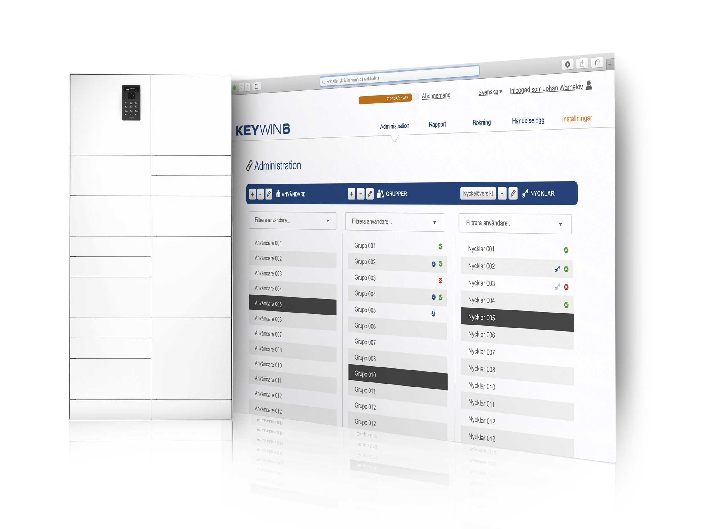 Gegenstandsverwaltung mit dem ValueBox Wertschrank mit der Software KeyWin6, die alle Ereignisse protokolliert