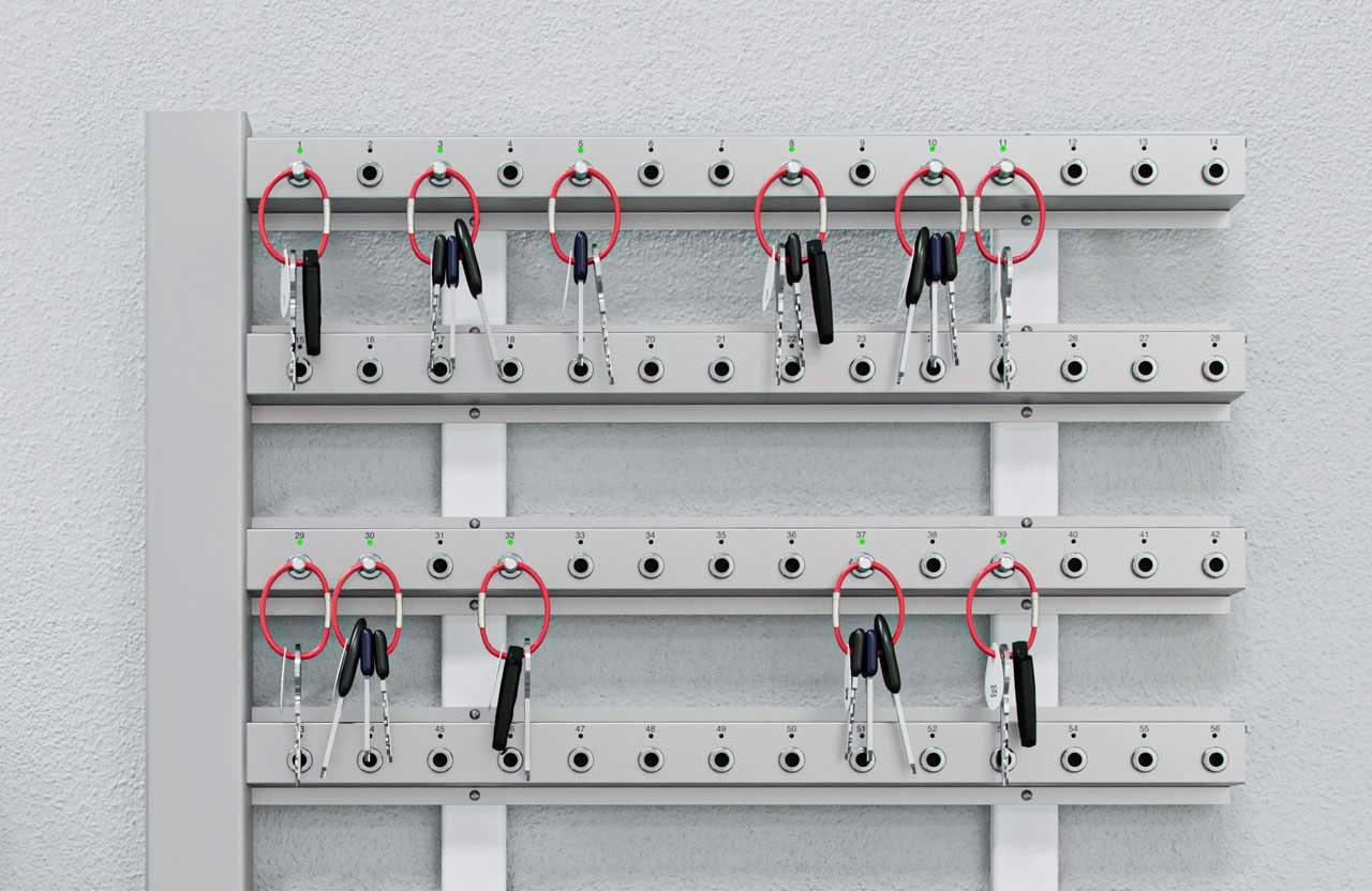Nahaufnahme Creone Keyrack Schlüsselleisten, Wandmontage für Schlüsselverwaltung.