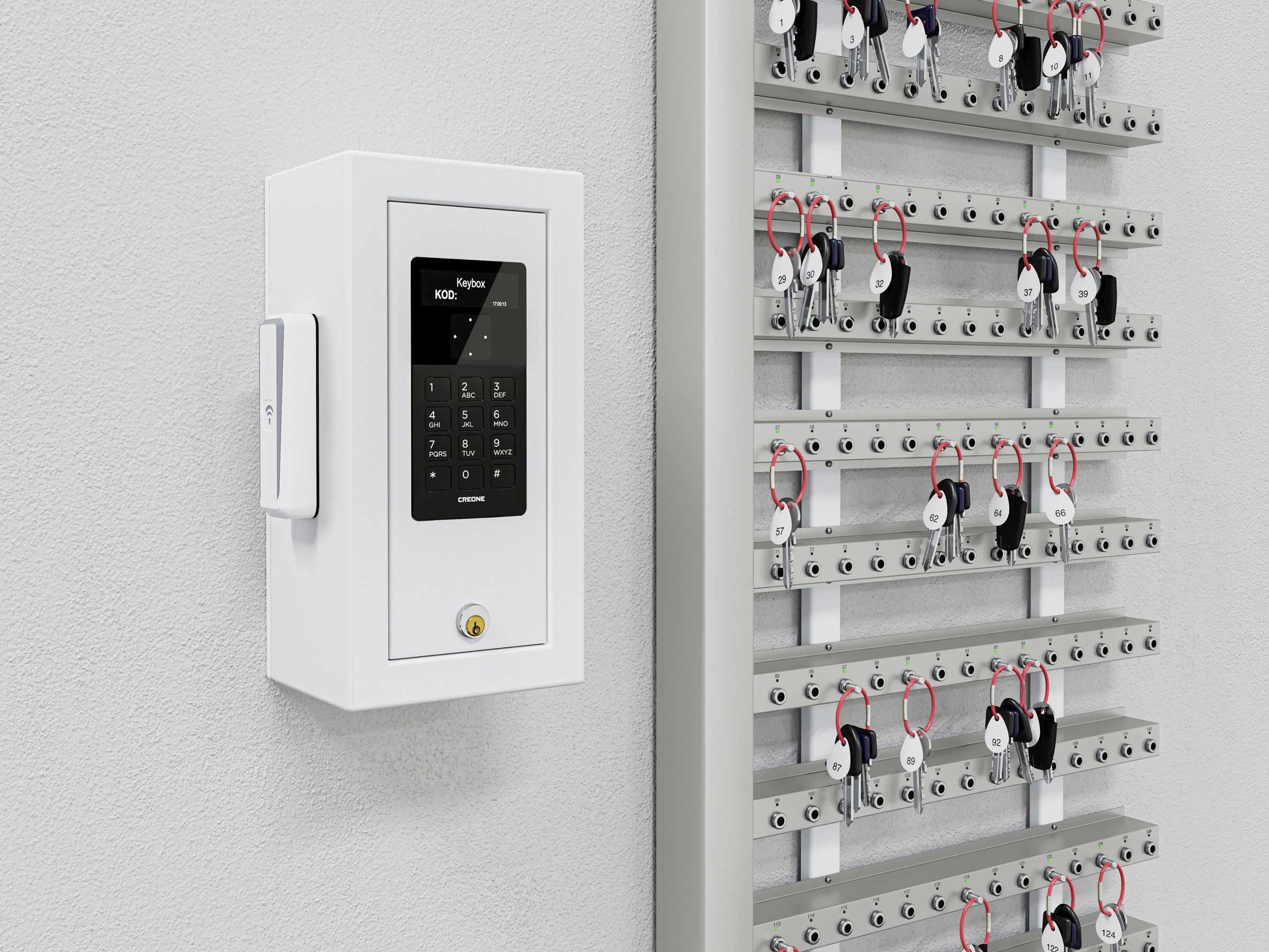 Intelligenta nyckelister som är monterade på vägg som ett alternativ till nyckelskåp.